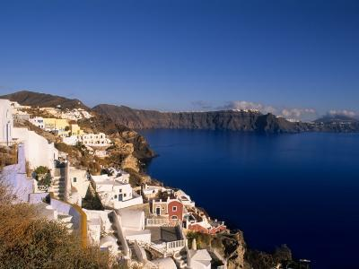 White Buildings on the Cliffs in Oia, Santorini, Greece-Bill Bachmann-Photographic Print