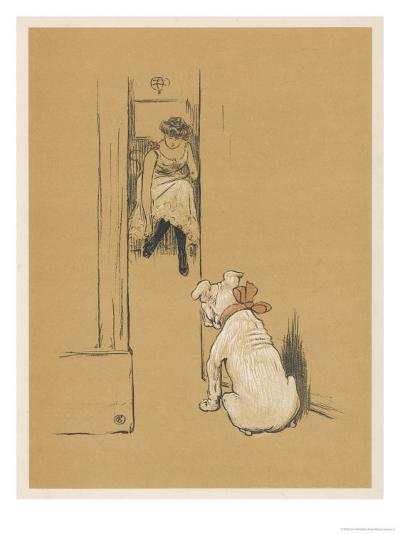 White Bulldog Guards His Master's Friend Pammy While She Changes Her Clothes-Cecil Aldin-Giclee Print