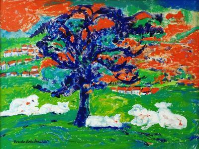 White Bullocks under a Tree-Brenda Brin Booker-Giclee Print