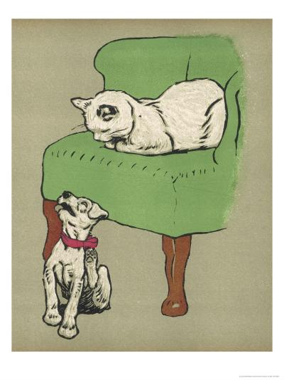White Cat Relaxes on a Comfy Chair While a White Puppy Tries to Pull His Irritating Collar Off-Cecil Aldin-Giclee Print