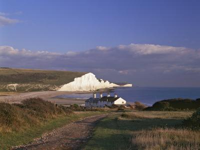 White Chalk Cliffs of the Seven Sisters at Cuckmere Haven, Seen From Near Seaford, East Sussex--Photographic Print