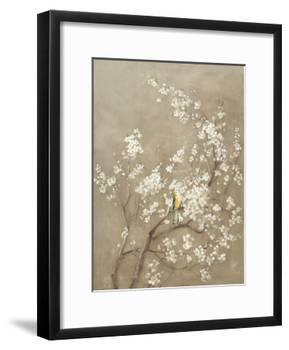 White Cherry Blossom I Neutral Crop Bird-Danhui Nai-Framed Art Print