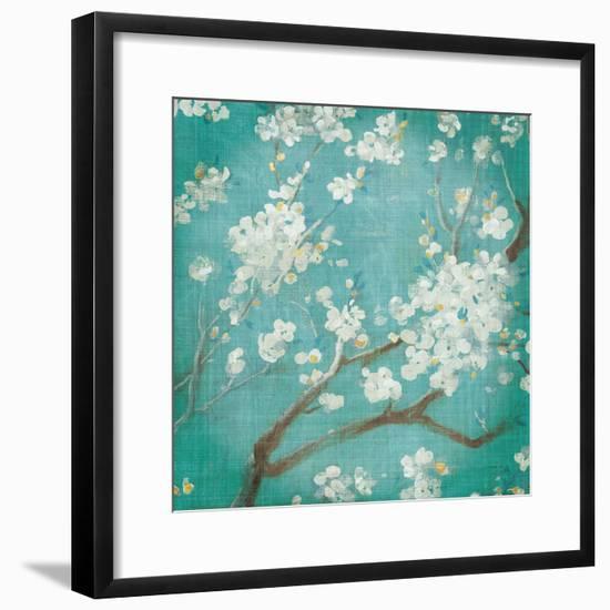 White Cherry Blossoms I on Blue Aged No Bird-Danhui Nai-Framed Premium Giclee Print