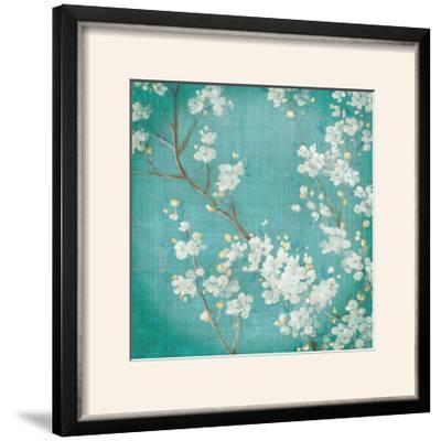 White Cherry Blossoms II on Blue Aged No Bird-Danhui Nai-Framed Photographic Print