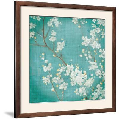 White Cherry Blossoms II on Blue Aged No Bird-Danhui Nai-Framed Photographic Print
