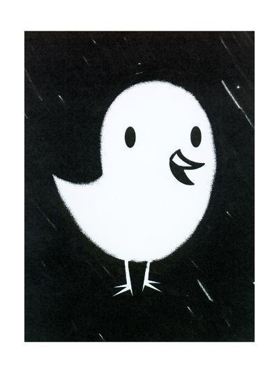 White Chick on Black Texture--Art Print