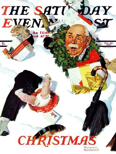 """""""White Christmas"""" Saturday Evening Post Cover, December 25,1937-Norman Rockwell-Giclee Print"""