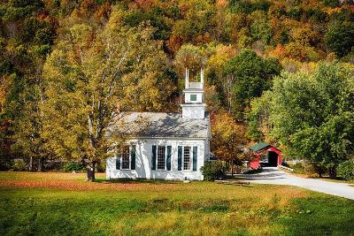 White Church And Red Covered Bridge-George Oze-Photographic Print