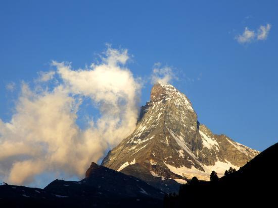 White Clouds and the Matterhorn, Zermatt,Valais, Swiss Alps, Switzerland, Europe-Hans Peter Merten-Photographic Print