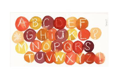 White Crayon-Drawn Alphabet on Colorful Dots--Art Print