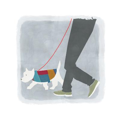 White Dog in Jacket Walking Beside Man's Legs--Art Print