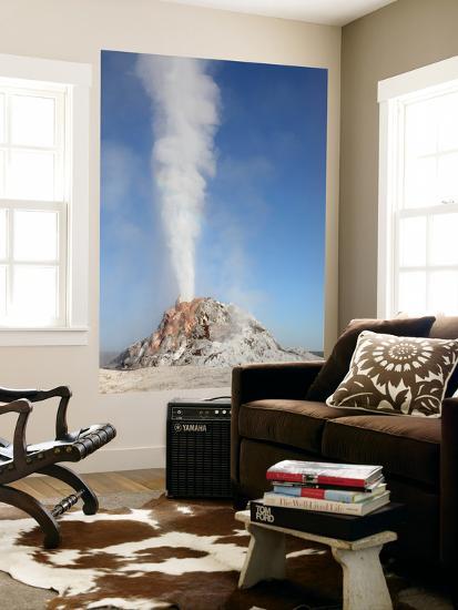 White Dome Geyser Erupting, Upper Geyser Basin Geothermal Area, Yellowstone National Park-Stocktrek Images-Wall Mural