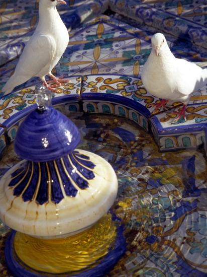 White Doves in Plaza Tiled Fountain, Sevilla, Spain-John & Lisa Merrill-Photographic Print