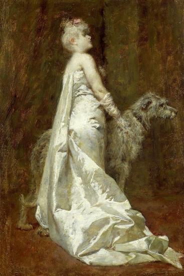 White Dress and Dog-Eugenio Scomparini-Giclee Print