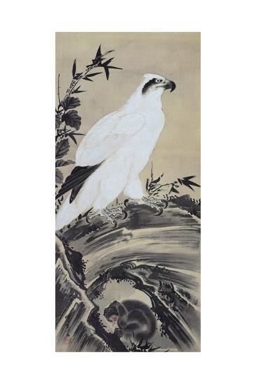 White Eagle and Monkey-Kyosai Kawanabe-Giclee Print