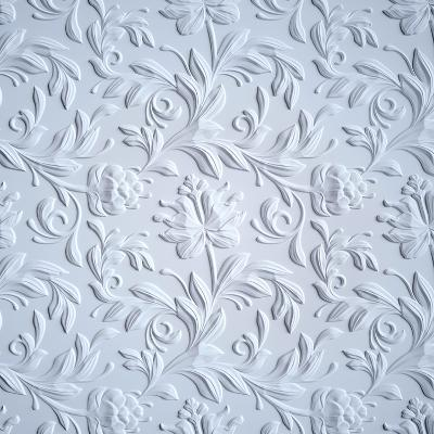 White Embossed Flowers Pattern, Textured Paper, 3D Floral Background-wacomka-Art Print