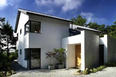 White Exterior of Front Entrance of Residential House with Gravel Driveway-Nigel Rigden-Photo