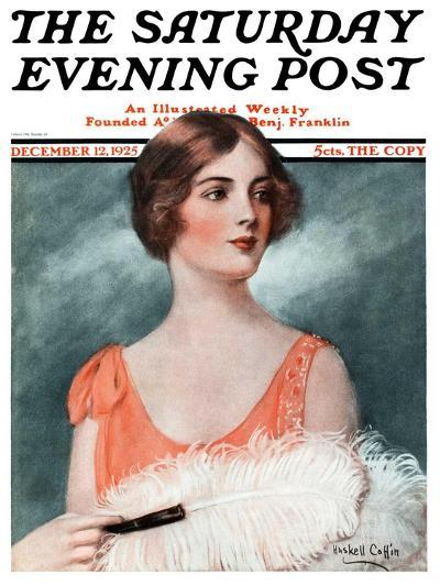 """White Feathered Fan,"" Saturday Evening Post Cover, December 12, 1925-William Haskell Coffin-Giclee Print"