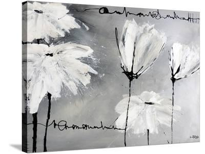 White Flowers-Annie Rodrigue-Stretched Canvas Print