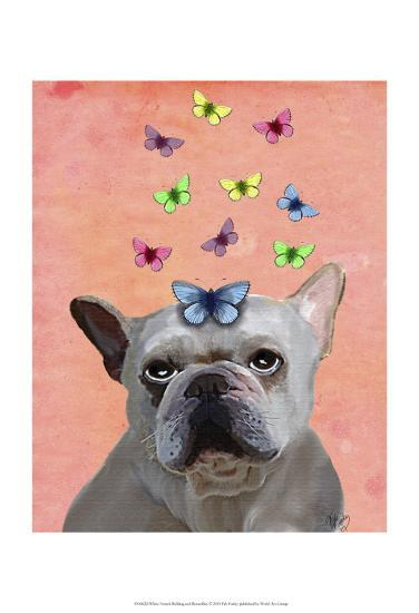 White French Bulldog and Butterflies-Fab Funky-Art Print
