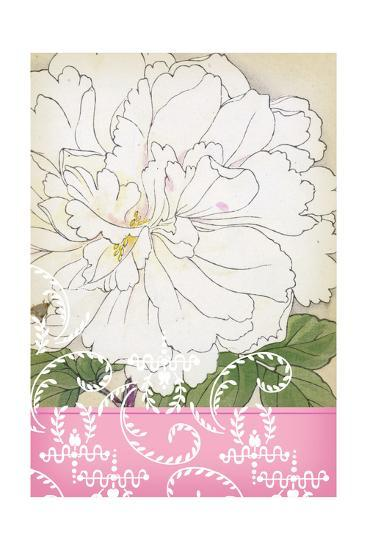White Frilly Flower with Leafy Swirls and Pink Border--Art Print