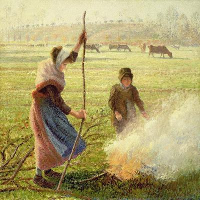 White Frost, Woman Breaking Wood, 1890-Camille Pissarro-Giclee Print