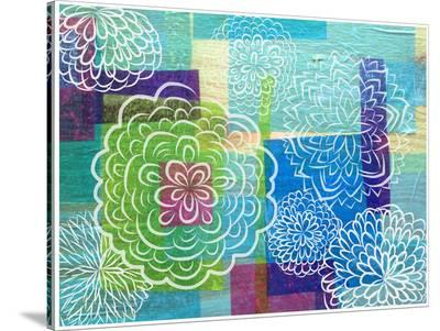 White Garden On Wood-Marian Nixon-Stretched Canvas Print