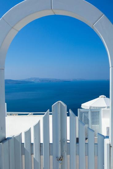 White Gate Overlooking Ocean-EvanTravels-Photographic Print