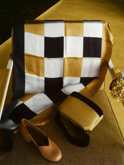 White, Gold and Black Checkered Silk Scarf, Shantung and Velvet Handbag, and Gold Kidskin Shoe--Premium Photographic Print