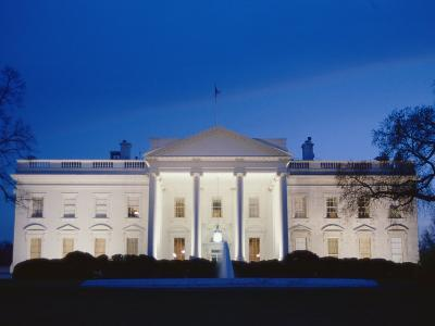 White House Facade at Twilight-Richard Nowitz-Photographic Print
