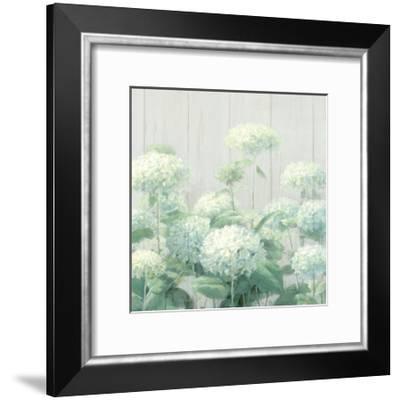 White Hydrangea Garden Sage on Wood Crop-Danhui Nai-Framed Art Print