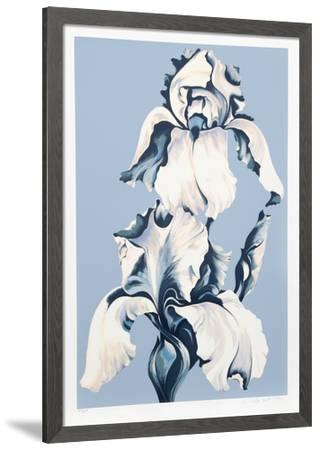 White Irises on Blue-Lowell Nesbitt-Framed Limited Edition