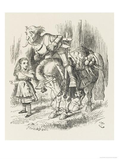 White Knight Alice and the White Knight-John Tenniel-Giclee Print
