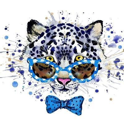 White Leopard T-Shirt Graphics. Cool Leopard Illustration with Splash Watercolor Textured Backgrou-Dabrynina Alena-Art Print