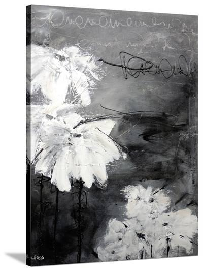 White Little Flowers-Annie Rodrigue-Stretched Canvas Print