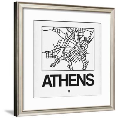 White Map of Athens-NaxArt-Framed Premium Giclee Print