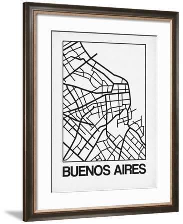 White Map of Buenos Aires-NaxArt-Framed Art Print