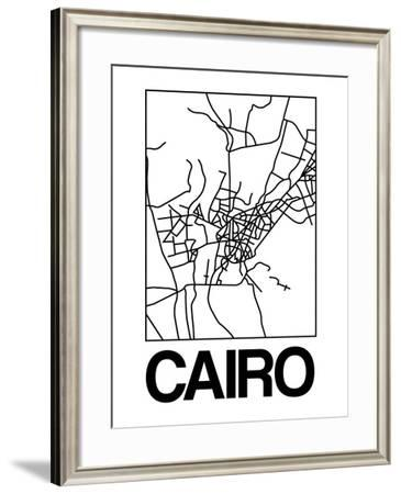 White Map of Cairo-NaxArt-Framed Art Print