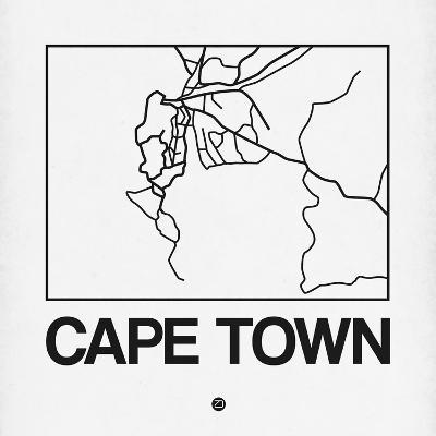 White Map of Cape Town-NaxArt-Art Print