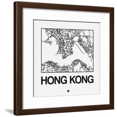 White Map of Hong Kong-NaxArt-Framed Premium Giclee Print