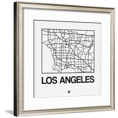 White Map of Los Angeles-NaxArt-Framed Premium Giclee Print