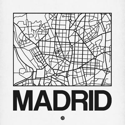 White Map of Madrid-NaxArt-Art Print