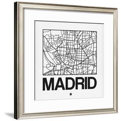 White Map of Madrid-NaxArt-Framed Premium Giclee Print