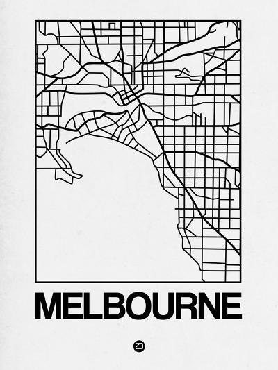 White Map of Melbourne-NaxArt-Art Print