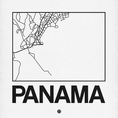 White Map of Panama-NaxArt-Art Print