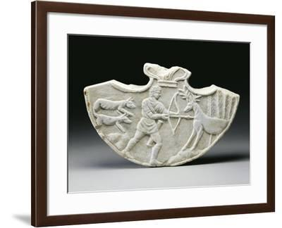 White Marble Oscillum with Figures of Hercules Killing Hind of Ceryneia--Framed Giclee Print