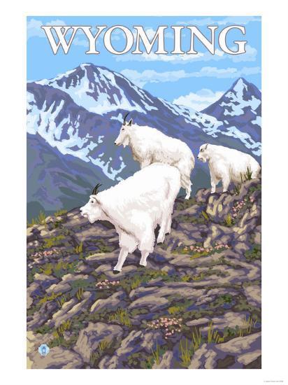 White Mountain Goat Family - Wyoming-Lantern Press-Art Print