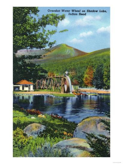 White Mountains, New Hampshire - Shadow Lake Overshot Water Wheel View-Lantern Press-Art Print
