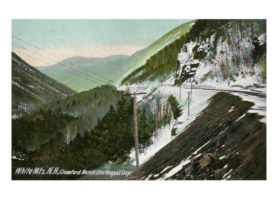 White Mountains, New Hampshire, View of Crawford Notch in August-Lantern Press-Art Print
