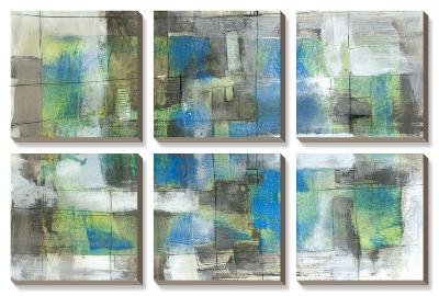 White on Blue-Jennifer Goldberger-Canvas Art Set